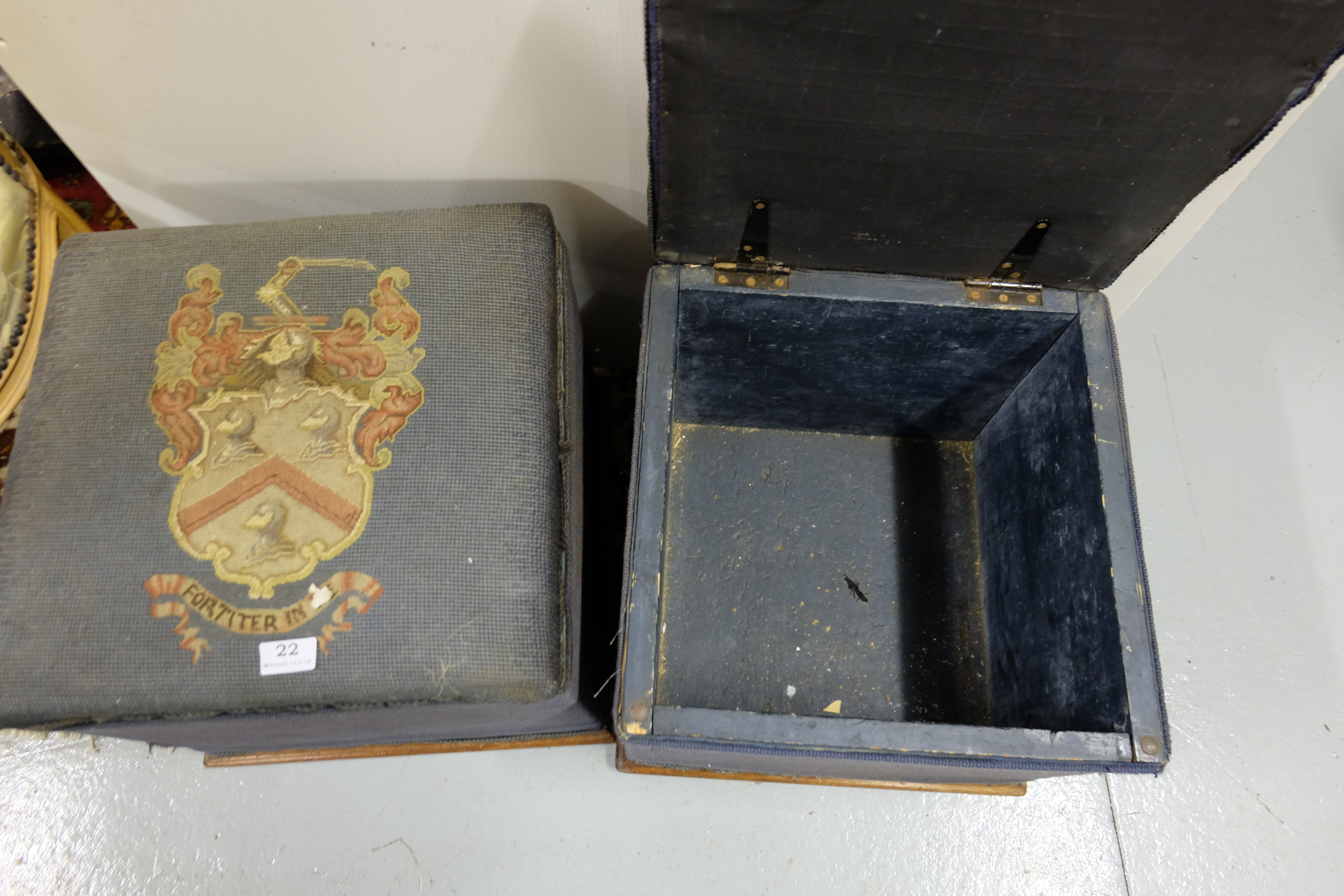 "Lot 22 - Pair of 19thC tapry covered foot sols with cred and hinged lids, Res Non Verba"" etc, 16""w"