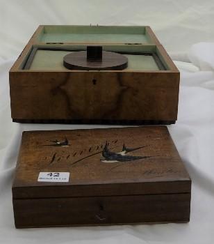 "Lot 42 - Sorren Ware Trinket Box (8.5""w) & a Satinwood Jewellery Box (10""w)"