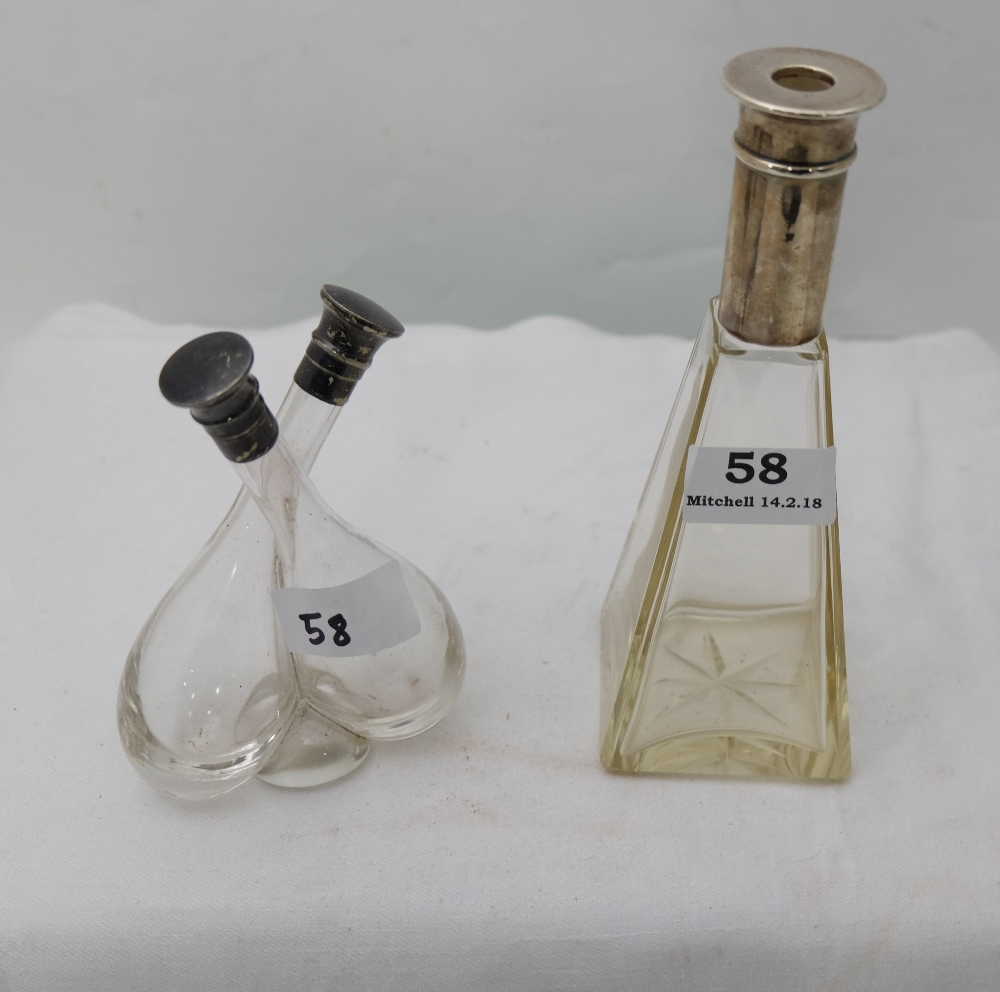 Lot 58 - 2 glass vinegar bottles, with silver ps (3)