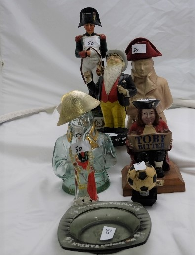 """Lot 50 - 8 whiskey advertising ornaments – """"Younger"""" figure and ashtray, by Bitter etc"""