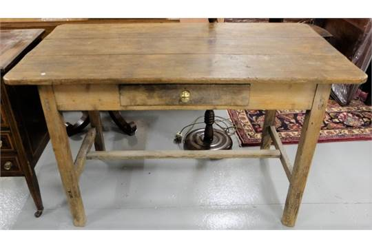 Irish Farmhouse Antique Pine Small Kitchen Table With An Apron