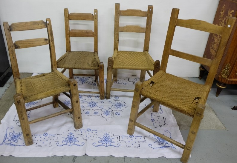 Lot 27 - 4 Irish Antique Pine & Elm Sugan Chairs, with through mortice stretchers (4)