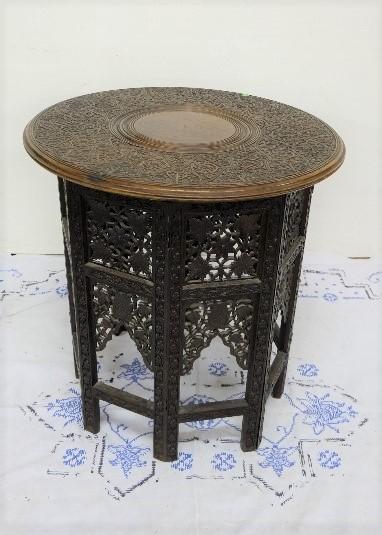 "Lot 19 - Circular Carved Oak Lamp Table 21"" dia (collapsible) & mahogany table bookstand (no base) (2)"