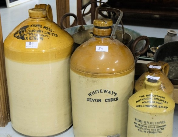Lot 54 - 4 English Sneware Whiskey Jars (2 tall, 2 smaller), Devon Cyder, Wellingn Salop etc