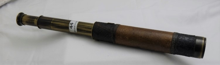 """Lot 44 - Extending Brass Telescope, leather cased (no lens), stamped """"T & H Doublet"""""""