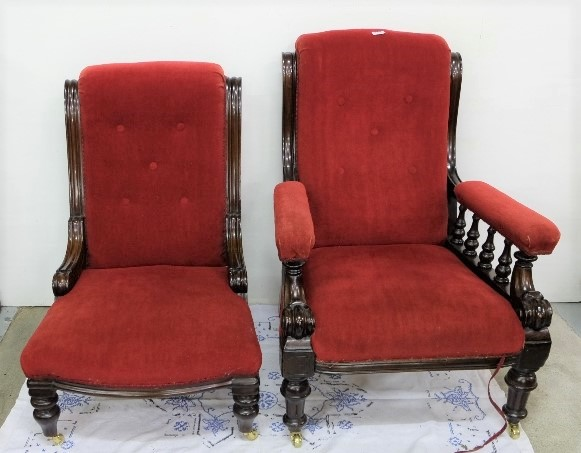 Lot 2 - Lady's and Gents Mahogany Framed Armchairs, on turned legs, WMIV period, red velvet fabric
