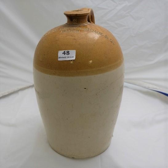 "Lot 48 - Stoneware Whiskey Jar, stamped ""William Fitzpatrick & Co., Birr), 15""h"