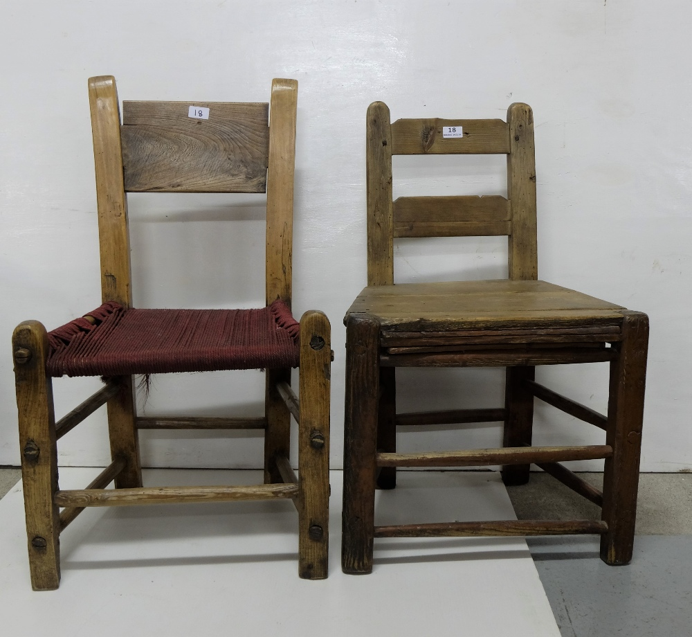 Lot 18 - Two Irish Farmhouse Kitchen Chairs, 1 with a red sugan seat, through mortice stretchers (2)