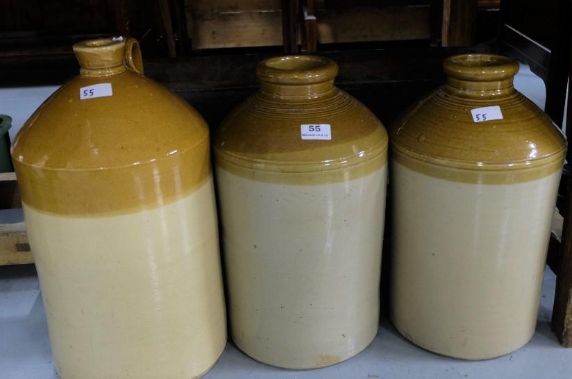 Lot 55 - 2 similar tall sneware Jam Pots & a sneware whiskey jar with handle (Brisl) (3)