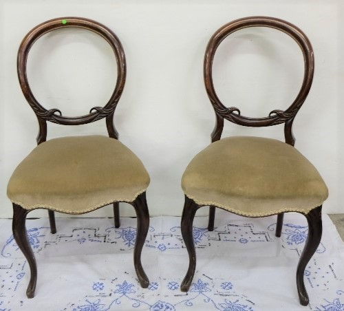 Lot 13 - Pair of Vict. Bedroom Chairs, sabre legs, beige seats