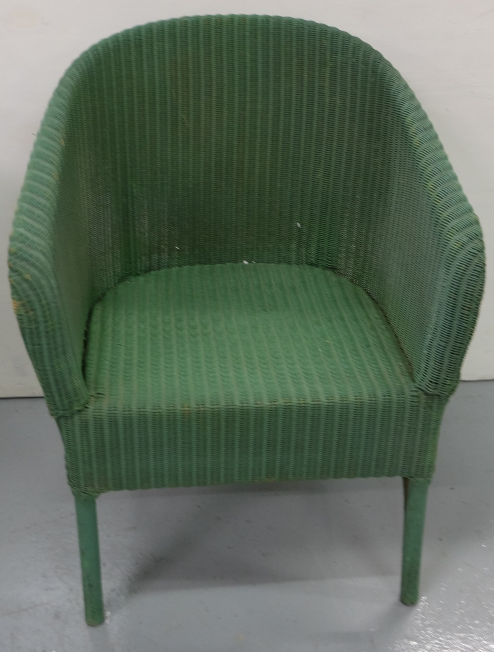 Lot 20 - Lloyd Loom style Armchair, painted green