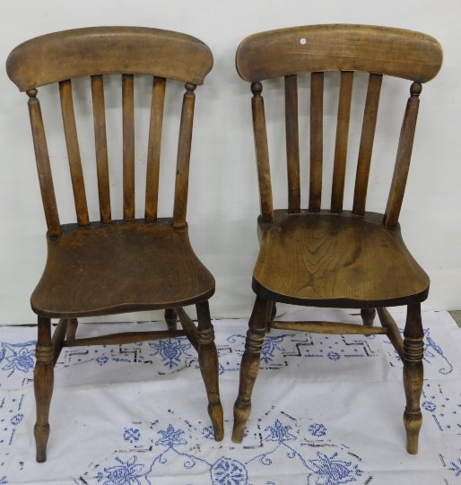 Lot 12 - Matching Pair of Elm Kitchen Chairs, with spindle backs, turned legs