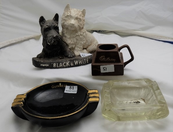 Lot 51 - 4 Bar Advertising Items – Scotty Dogs, Cadbury cup, 2 Guinness Ashtrays (1 glass) (4)
