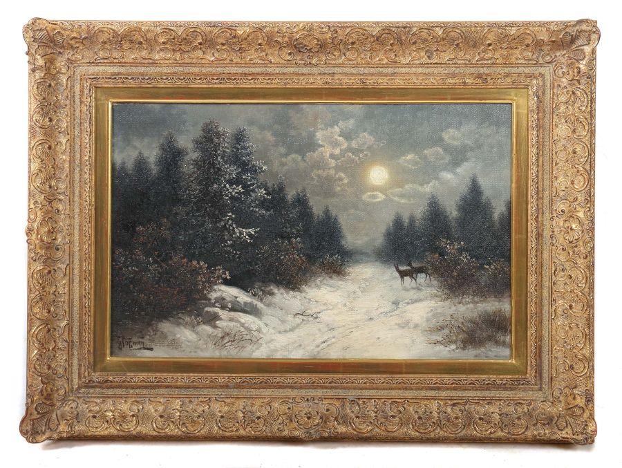 """Hoffmann, Georg auch Hoffmann-Salon, um 1880 - ?, Landschaftsmaler in und um Stuttgart. """"Rehe im - Bild 2 aus 3"""