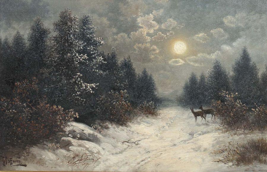 """Hoffmann, Georg auch Hoffmann-Salon, um 1880 - ?, Landschaftsmaler in und um Stuttgart. """"Rehe im"""