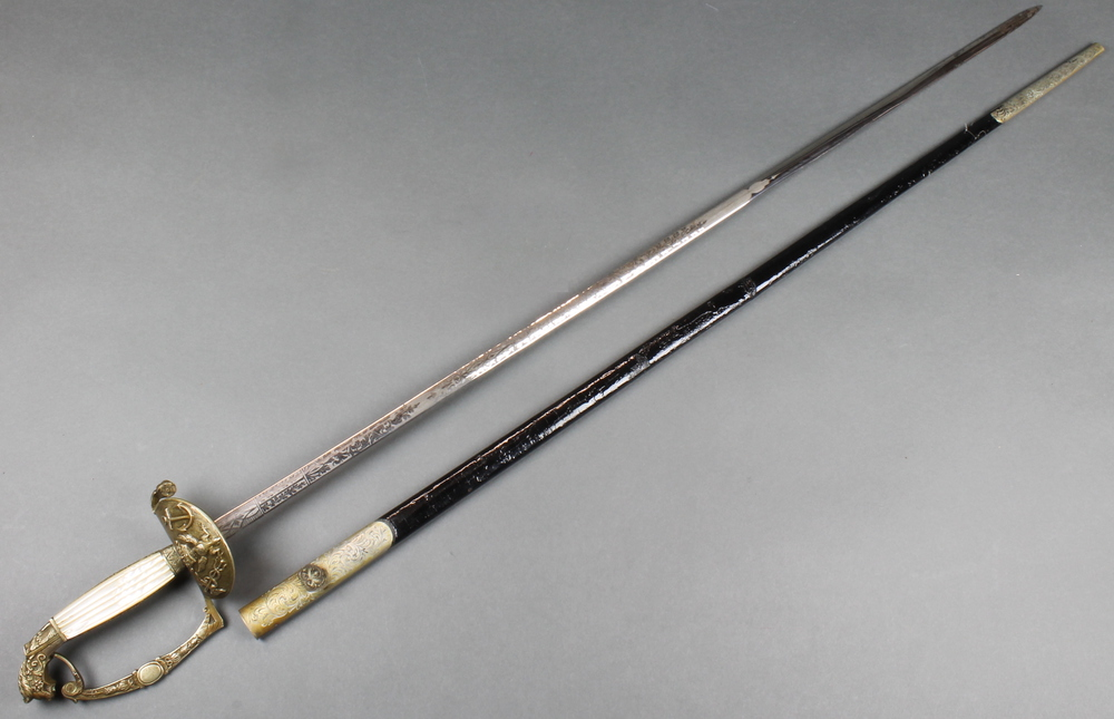 "Harrison & Sons, Sackville Street London, a ""Polish"" naval court sword with 31 1/2"" etched blade ("