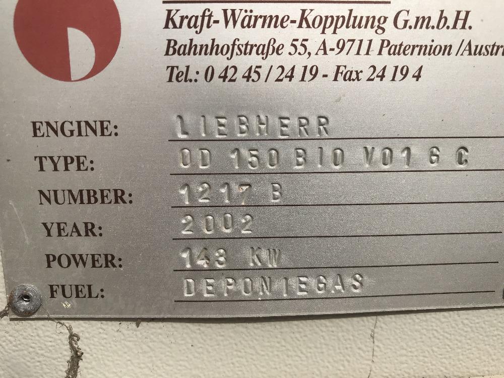 Lot 47 - LIEBHERR OD150 BIO V01GC GAS POWERED GENERATOR, YEAR 2002, LIEBHERR ENGINE, STAMFORD ATERNATOR,