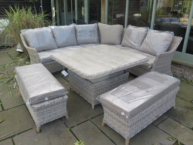 Lot 31 - A Bramblecrest Ascot square modular sofa set with two benches and square adjustable table with