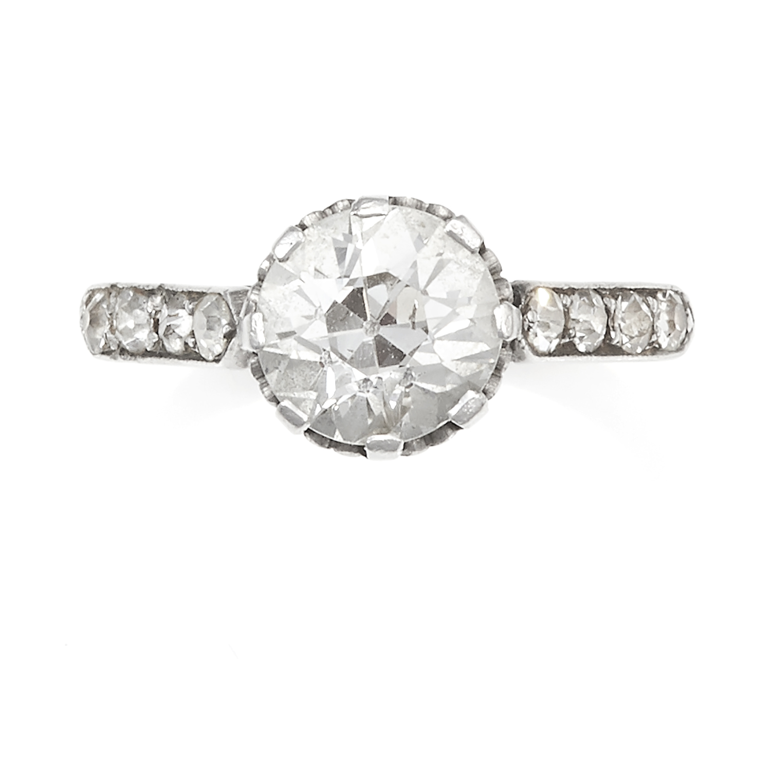 Los 23 - AN ANTIQUE 1.80 CARAT SOLITAIRE DIAMOND RING in white gold or platinum, set with an old European cut
