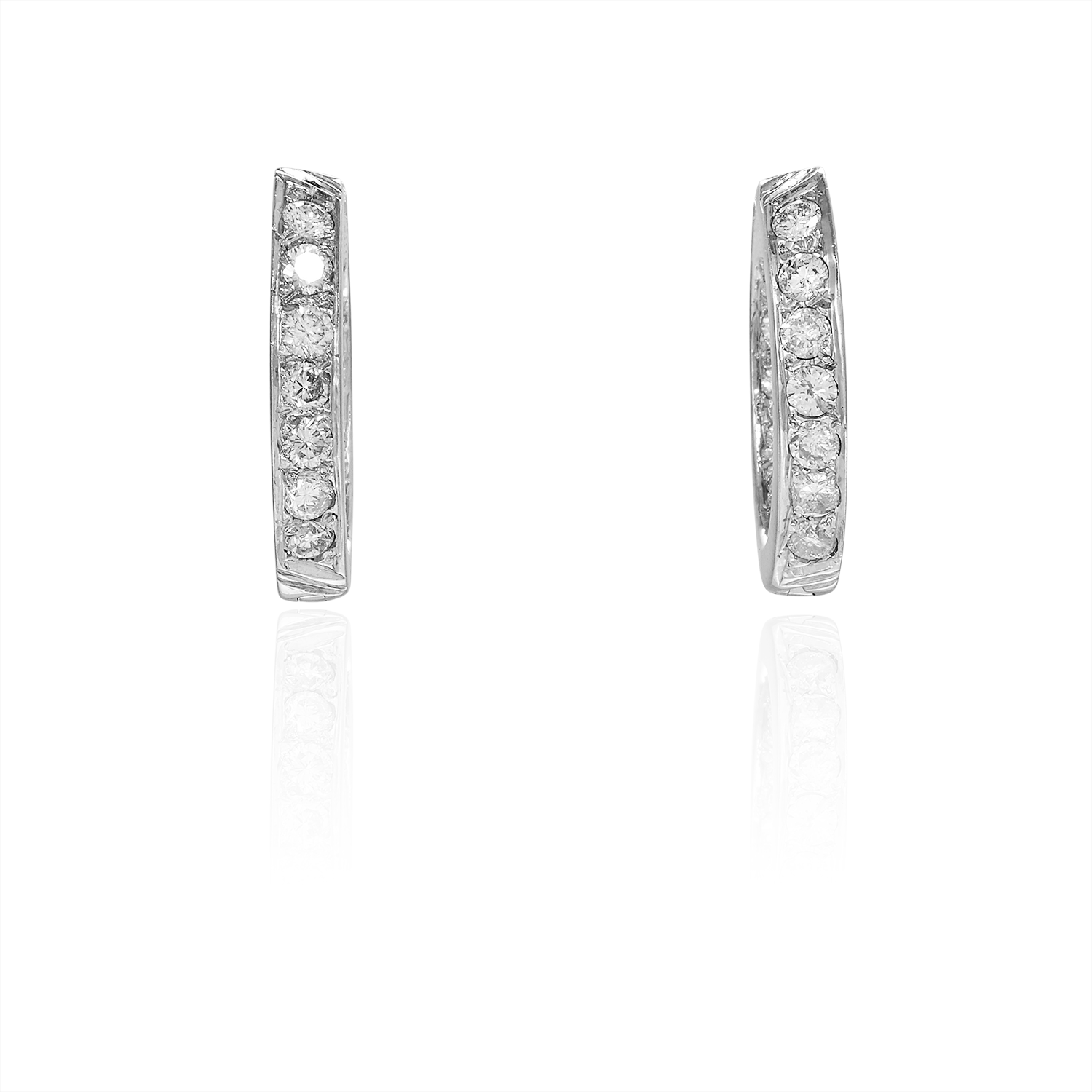 A PAIR OF DIAMOND HOOP EARRINGS in 18ct white gold, each designed as a full hoop set with round