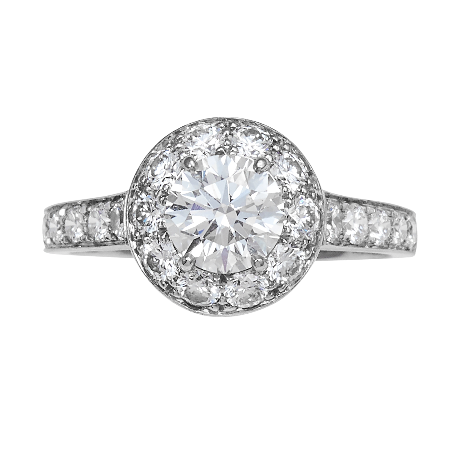 Los 53 - AN ICONE 1.0 CARAT DIAMOND ENGAGEMENT RING, VAN CLEEF & ARPELS in platinum, set with a central round