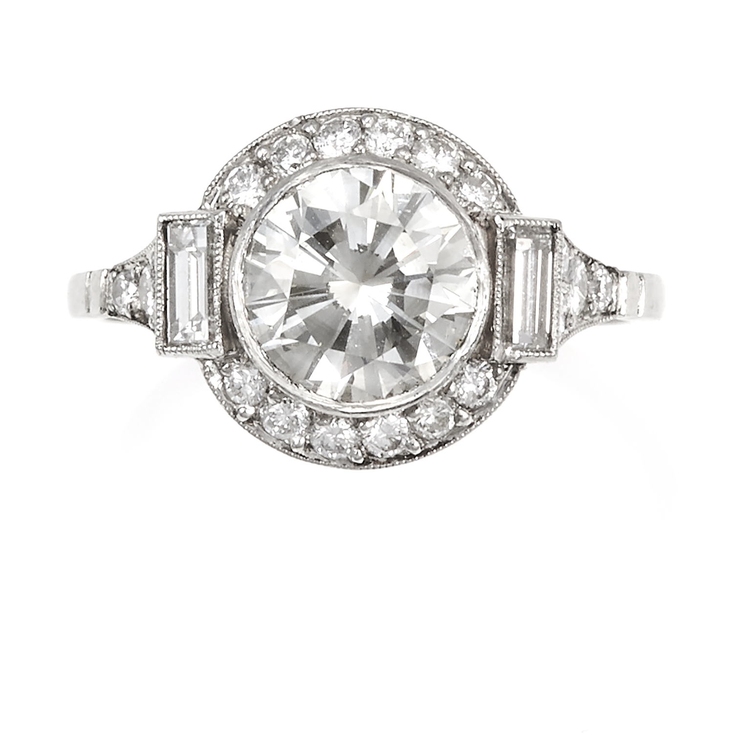Los 51 - A 1.76 CARAT DIAMOND RING in platinum, set with a central round cut diamond of 1.76 carats within