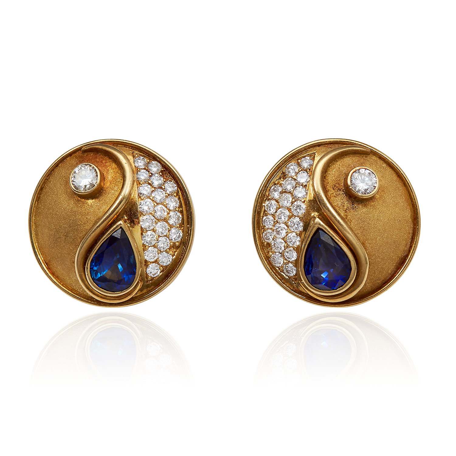 A PAIR OF DIAMOND AND SAPPHIRE YIN YANG EARRINGS, BOODLES in 18ct yellow gold, set with two pear cut
