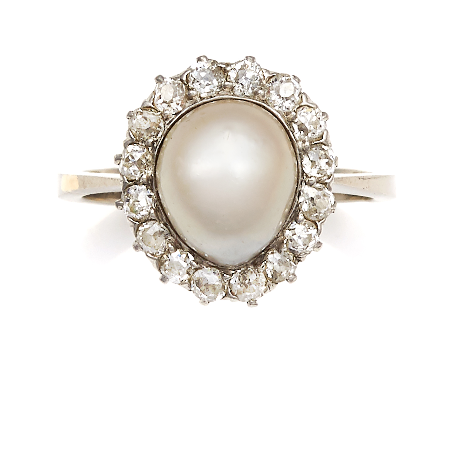 Los 47 - A NATURAL SALTWATER PEARL AND DIAMOND CLUSTER RING in platinum, set with a central pearl of 9.8mm
