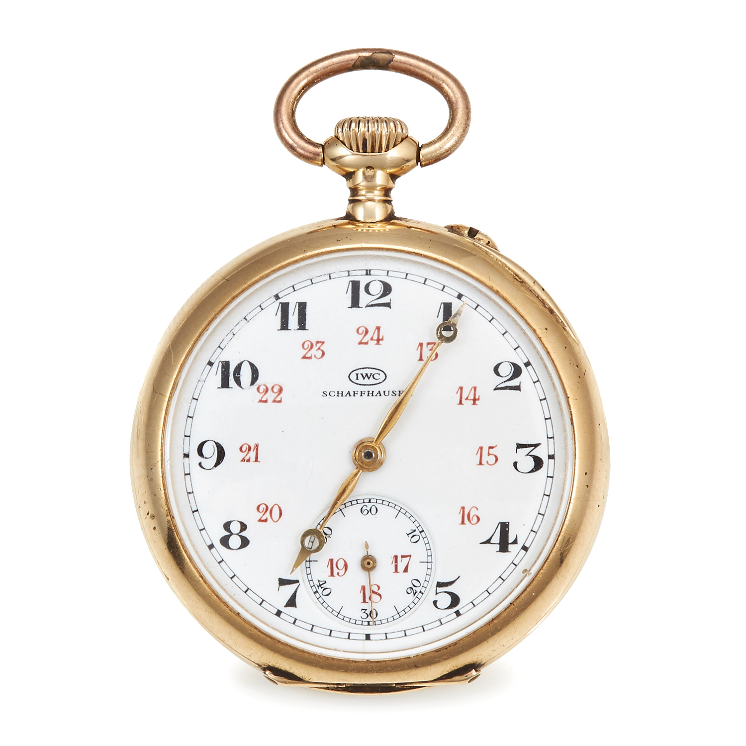 Los 372 - AN ANTIQUE POCKET WATCH, IWC SCHAFFHAUSEN in high carat yellow gold, the circular case with engraved
