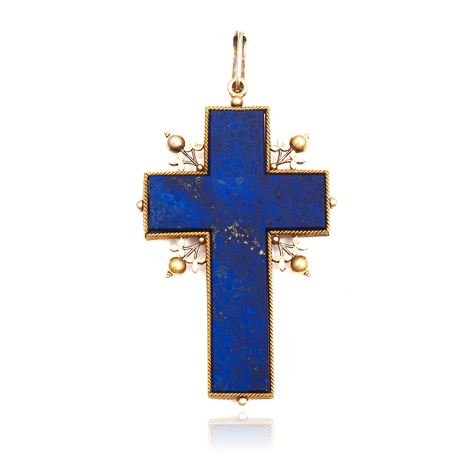 Los 60 - AN ANTIQUE LAPIS LAZULI CRUCIFIX / CROSS PENDANT, CARLO GIULIANO in high carat yellow gold, set with