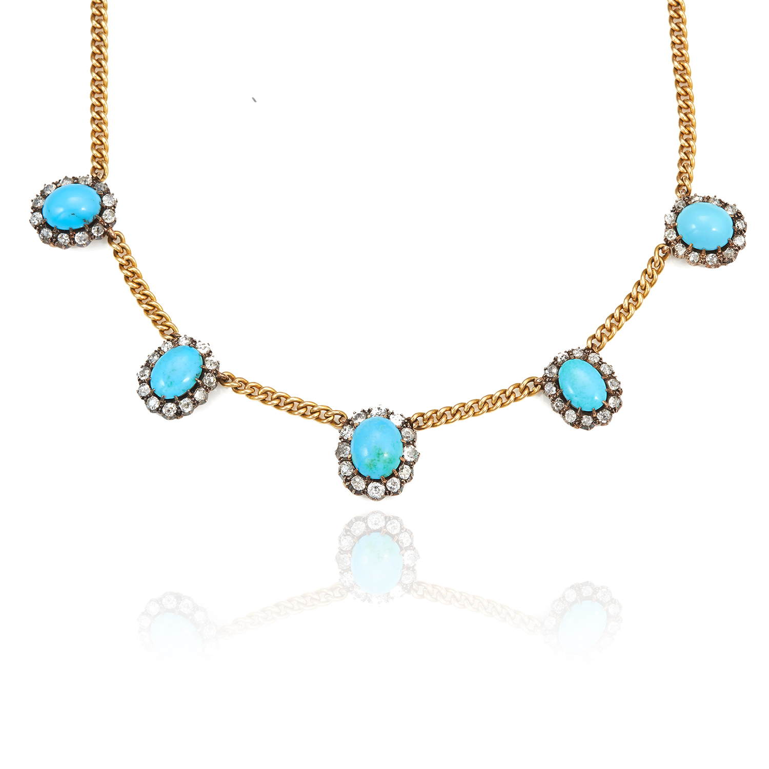 Los 39 - AN ANTIQUE TURQUOISE AND DIAMOND NECKLACE in 18ct yellow gold and silver, the curb link necklace