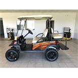 2014 CLUB CAR PRECEDENT ELECTRIC GOLF CART, WITH 48 VOLT CHARGER, 4-PASSENGER FOLD DOWN SEAT, LIFT