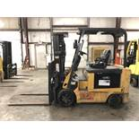 2008 CATERPILLAR 6,000 LB. ELECTRIC FORKLIFT, 36V, MODEL E6000-AC, 3-STAGE, SIDESHIFT, 3,292 HRS