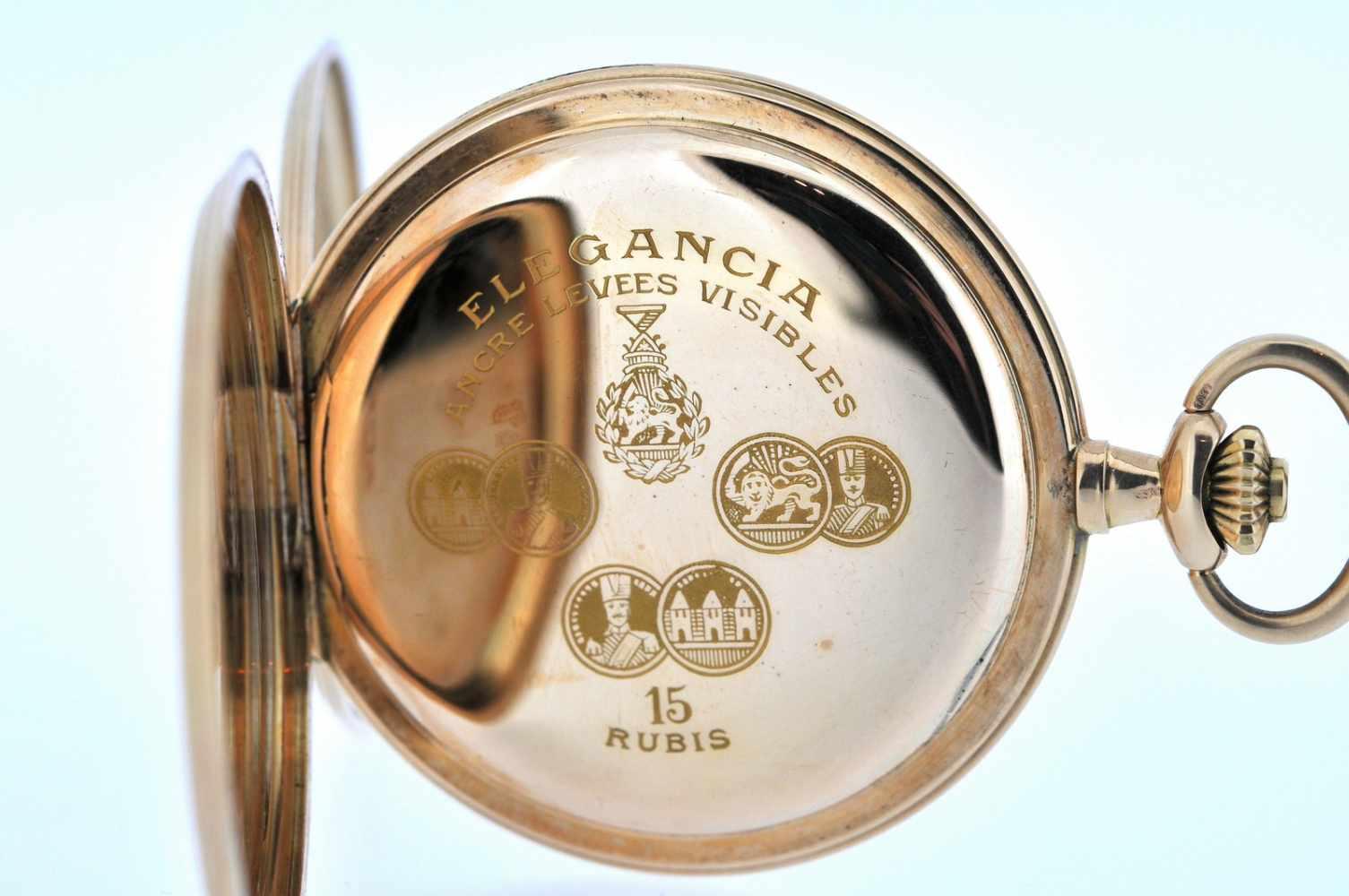 Goldene Herrentaschenuhr Goldene Herrentaschenuhr mit kleiner Sekunde, Elegancia, Breguetspirale, - Bild 3 aus 4