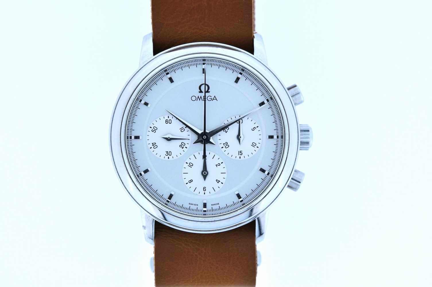 Omega Edelstahl Armbanduhr an Lederband, Omega, Chronograph, Stoppfunktion, Kaliber 861, Handaufzug, - Bild 2 aus 2