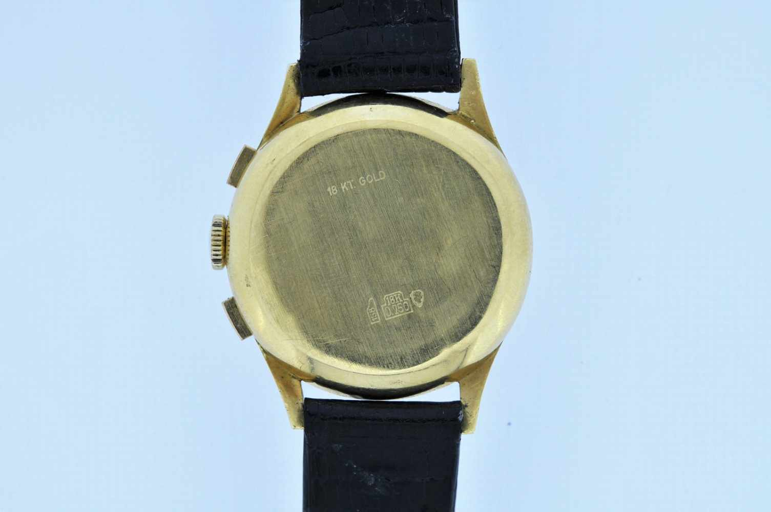 Gigandet Goldene 18karätige Armbanduhr an Lederband, Gigandet Wakmann, Chronograph, Stoppfunktion, - Bild 4 aus 5