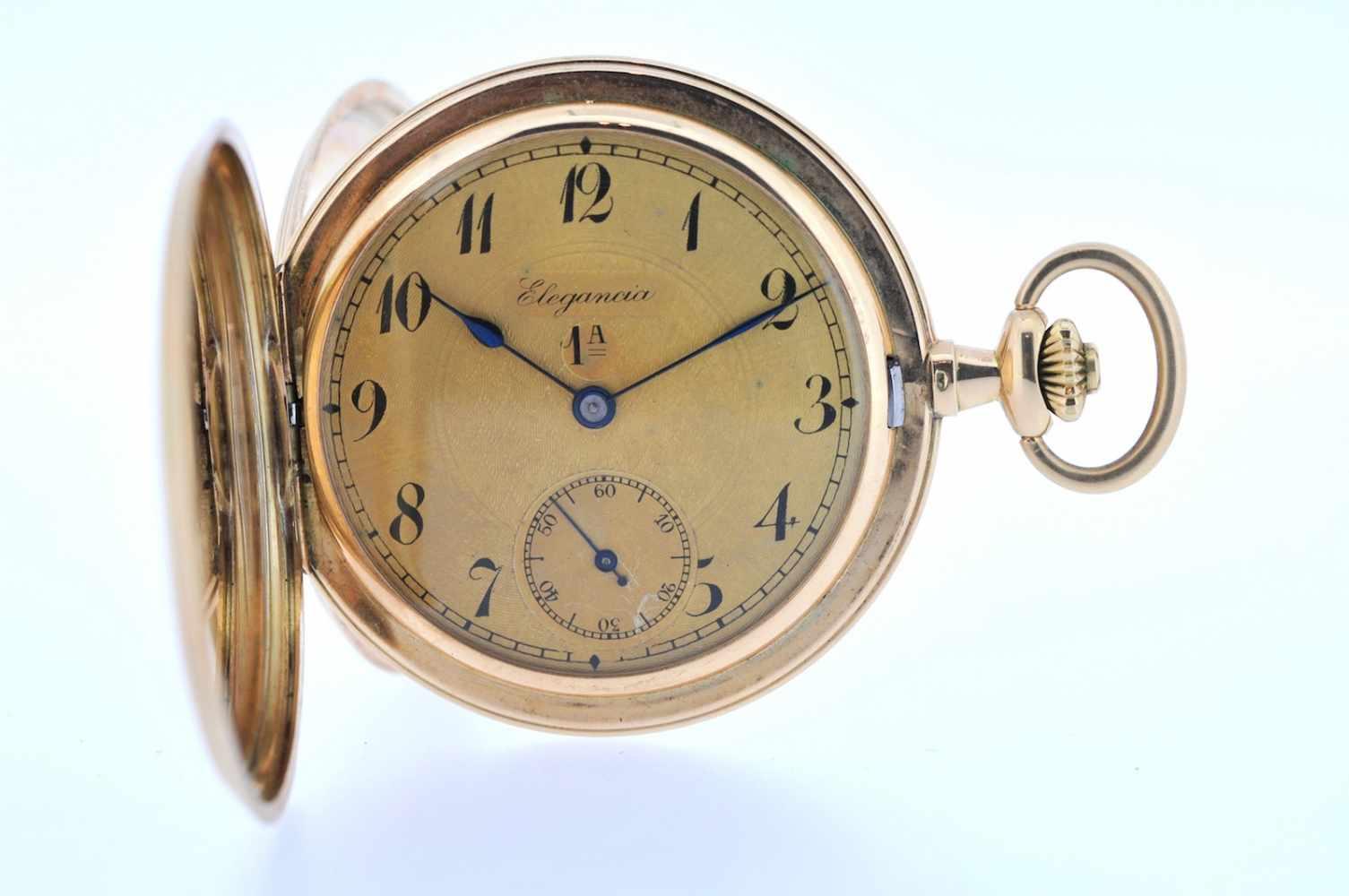 Goldene Herrentaschenuhr Goldene Herrentaschenuhr mit kleiner Sekunde, Elegancia, Breguetspirale,
