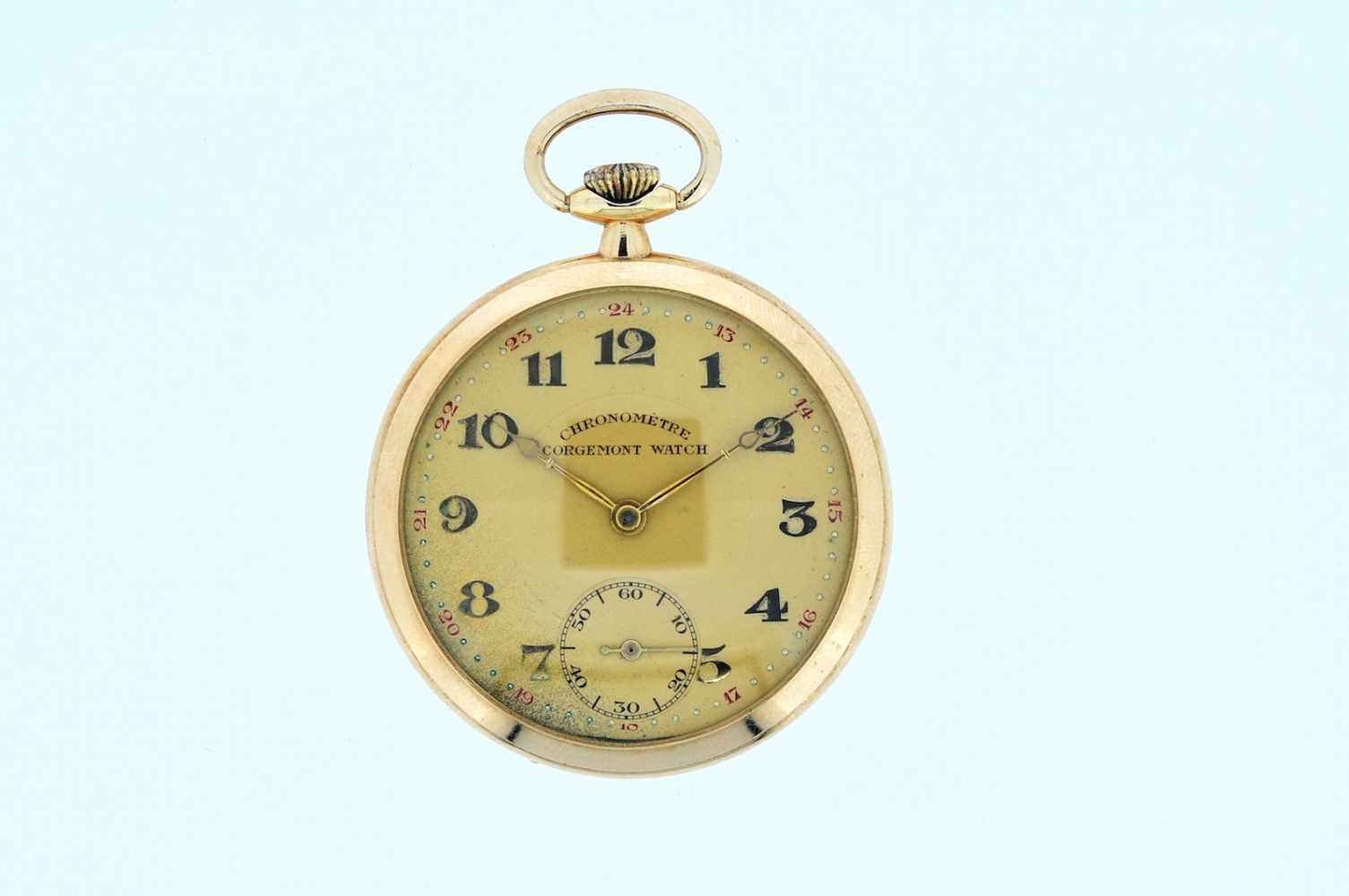 Goldene Frackuhr Goldene Frackuhr mit kleiner Sekunde, Chronometer, Corgemont Watch, Breguetspirale,