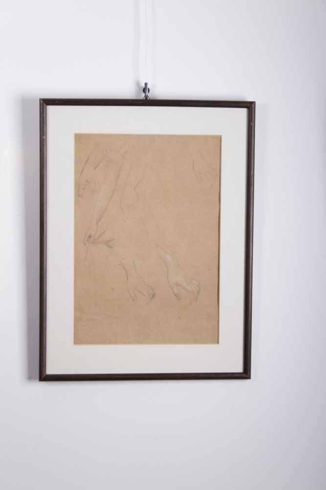 Gustav Klimt 1862-1918, Handstudien, Bleistift, weiße Kreide auf Papier, Holzrahmen, hinter Glas, - Bild 3 aus 3