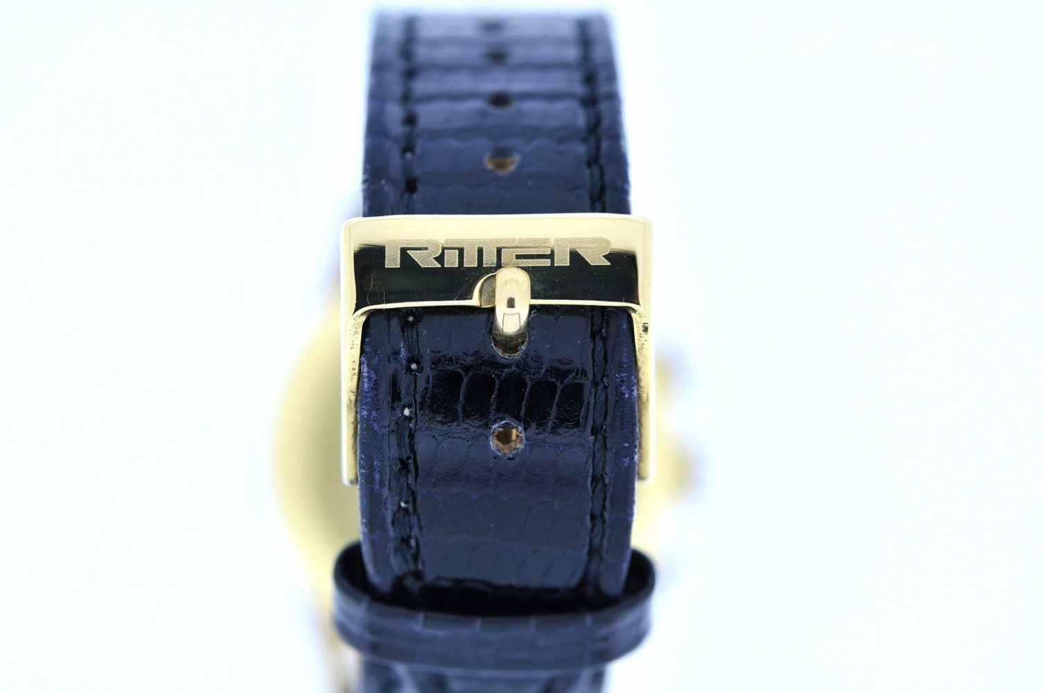 Gigandet Goldene 18karätige Armbanduhr an Lederband, Gigandet Wakmann, Chronograph, Stoppfunktion, - Bild 2 aus 5