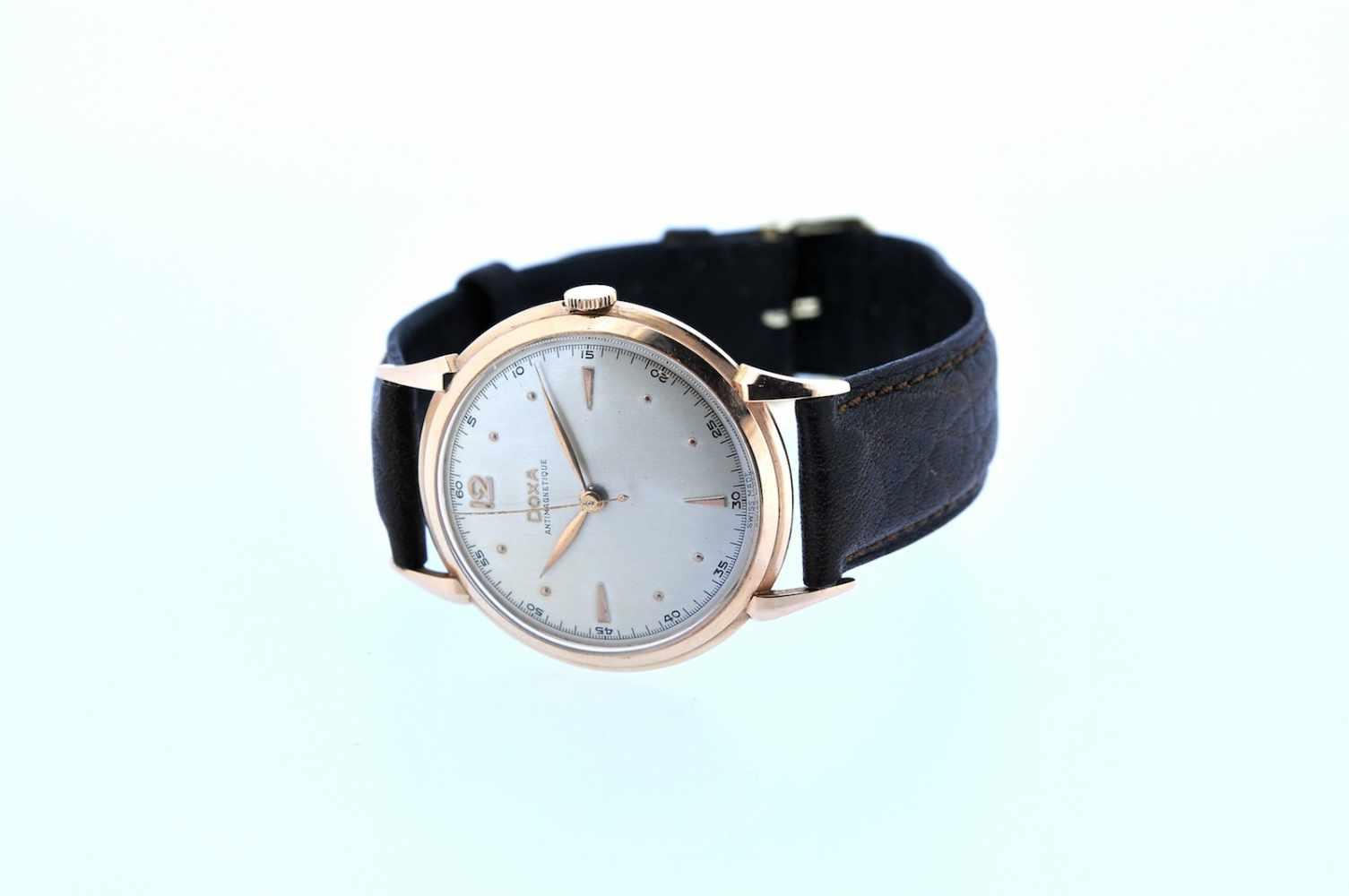Doxa Roségoldene Armbanduhr an Lederband, Doxa Antimagnetique, Handaufzug, Ankerwerk, - Bild 2 aus 2