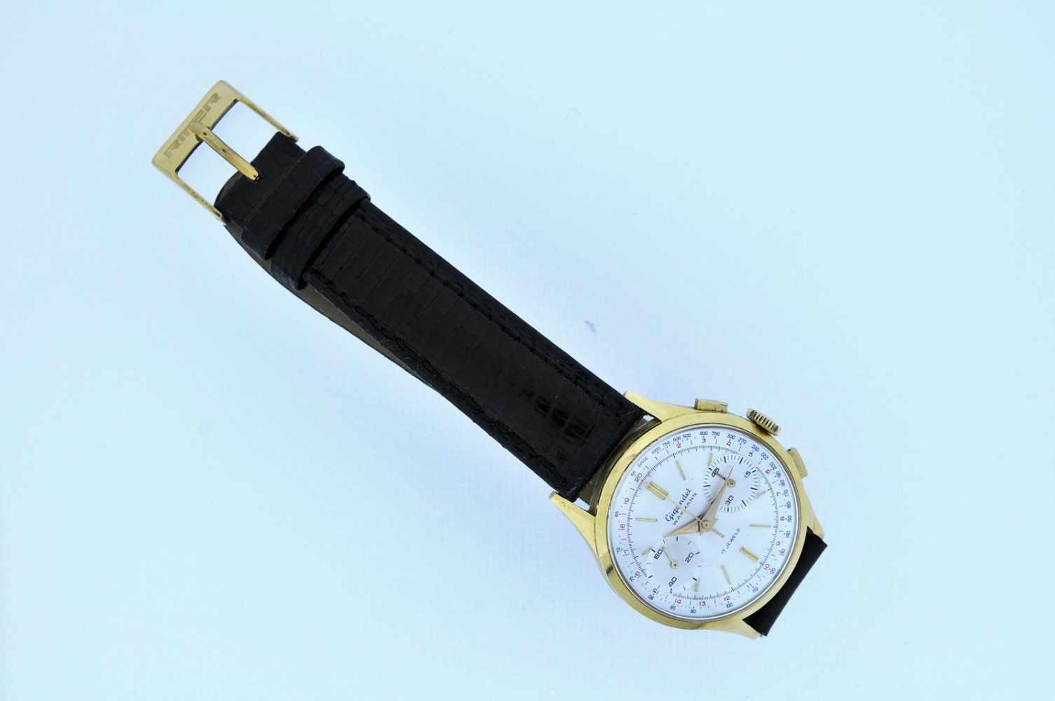 Gigandet Goldene 18karätige Armbanduhr an Lederband, Gigandet Wakmann, Chronograph, Stoppfunktion, - Bild 3 aus 5