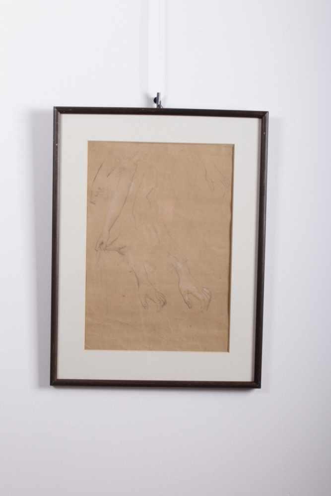 Gustav Klimt 1862-1918, Handstudien, Bleistift, weiße Kreide auf Papier, Holzrahmen, hinter Glas, - Bild 2 aus 3