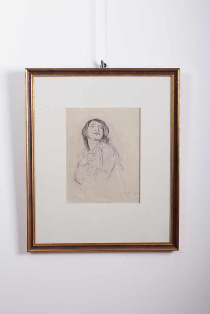 Louis Corinth 1858-1925, Zeichnung eines Damenportraits, Kreide auf Papier, signiert unten rechts,