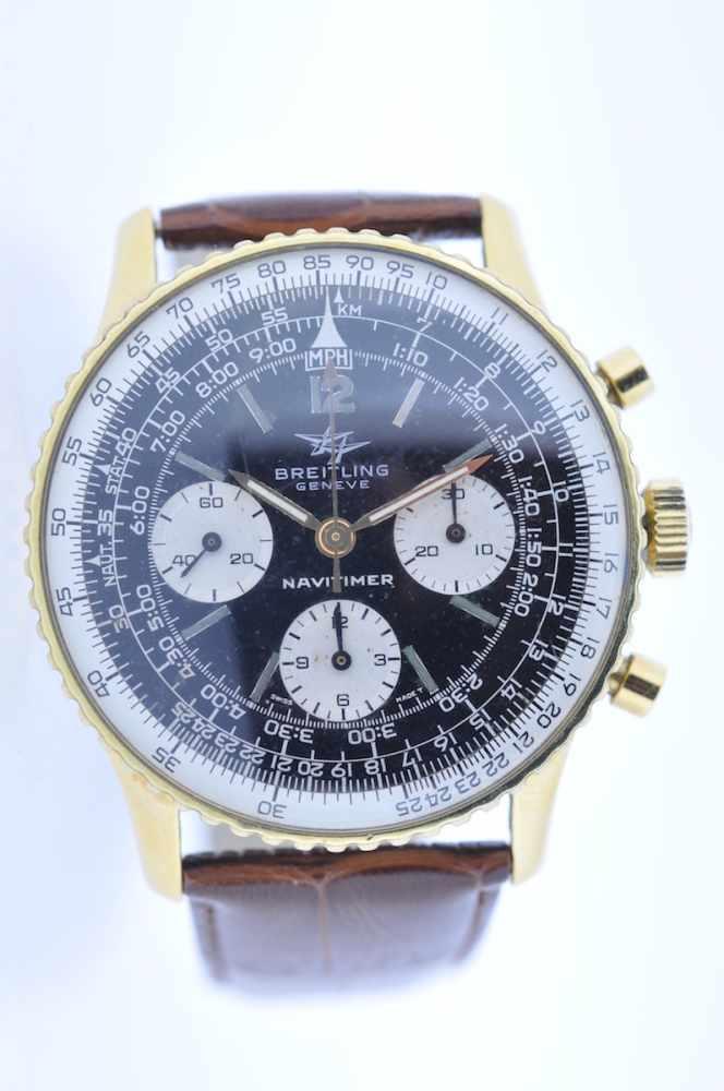 Breitling Stahl vergoldete Armbanduhr an Lederband, Breitling Navitimer, Fliegerchronograph,