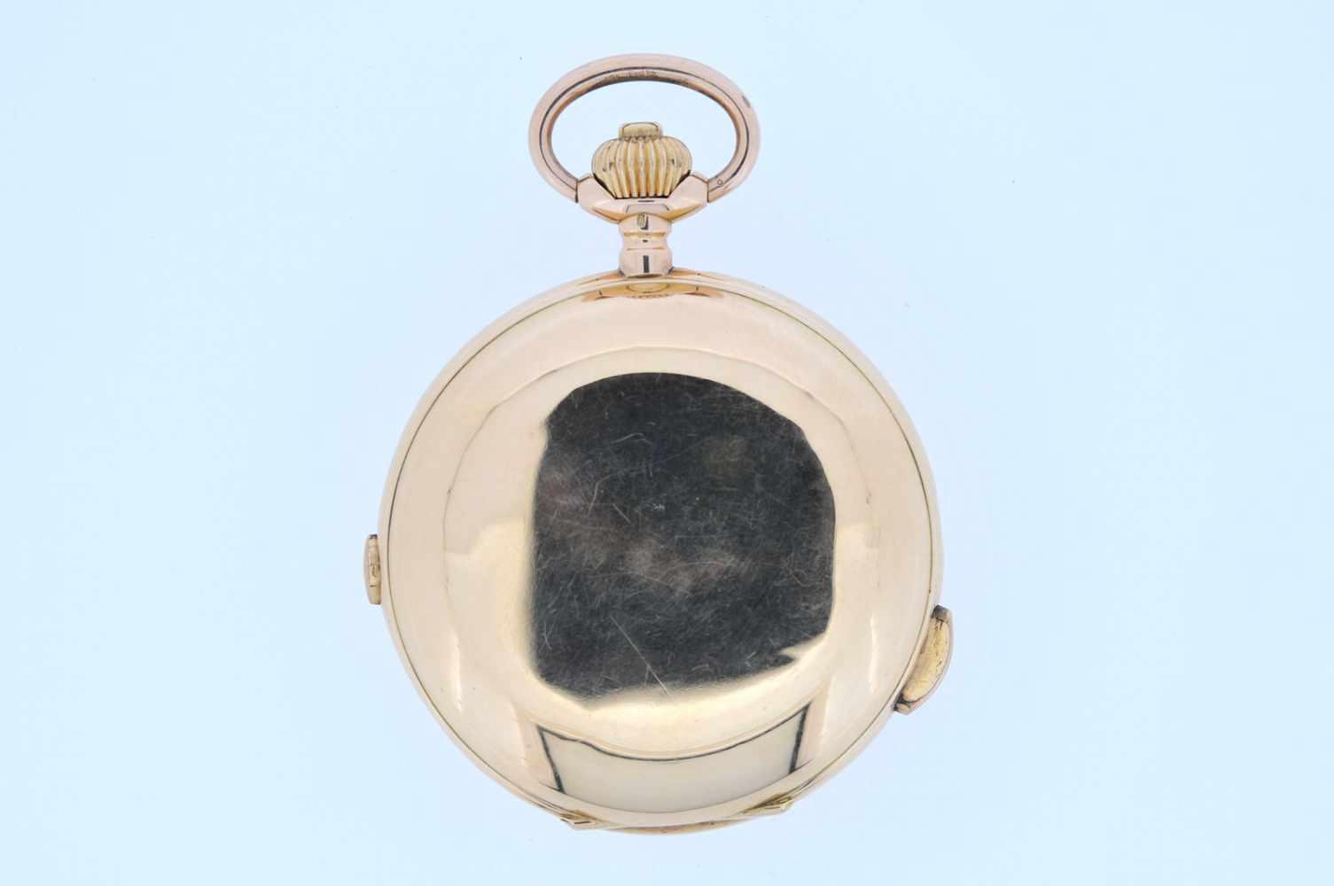 Viertelstundenrepetierer Goldene Taschenuhr mit Viertelstundenschlagwerk, kleiner Sekunde und - Bild 4 aus 4