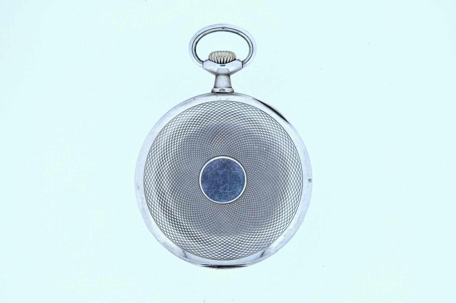 Silberne Taschenuhr Silberne Taschenuhr mit kleiner Sekunde, Omega, Breguetspirale, Ankerwerk, - Bild 3 aus 4