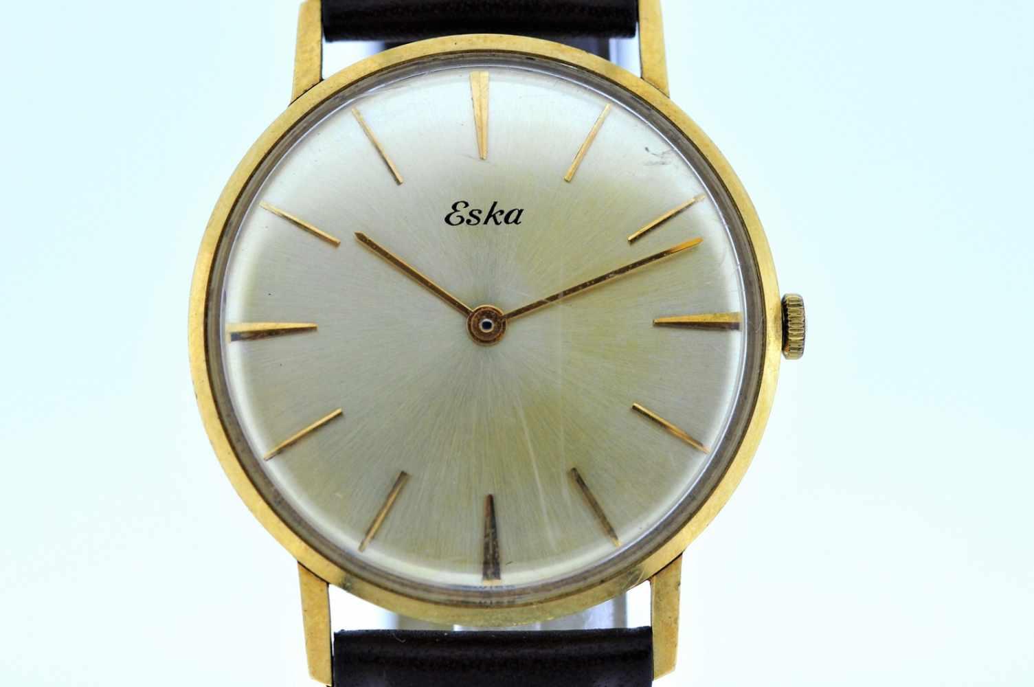 Eska Goldene Armbanduhr an Lederband, Eska, Handaufzug, Ankerwerk, Werkservice empfohlen, 28,1 g. - Bild 3 aus 6