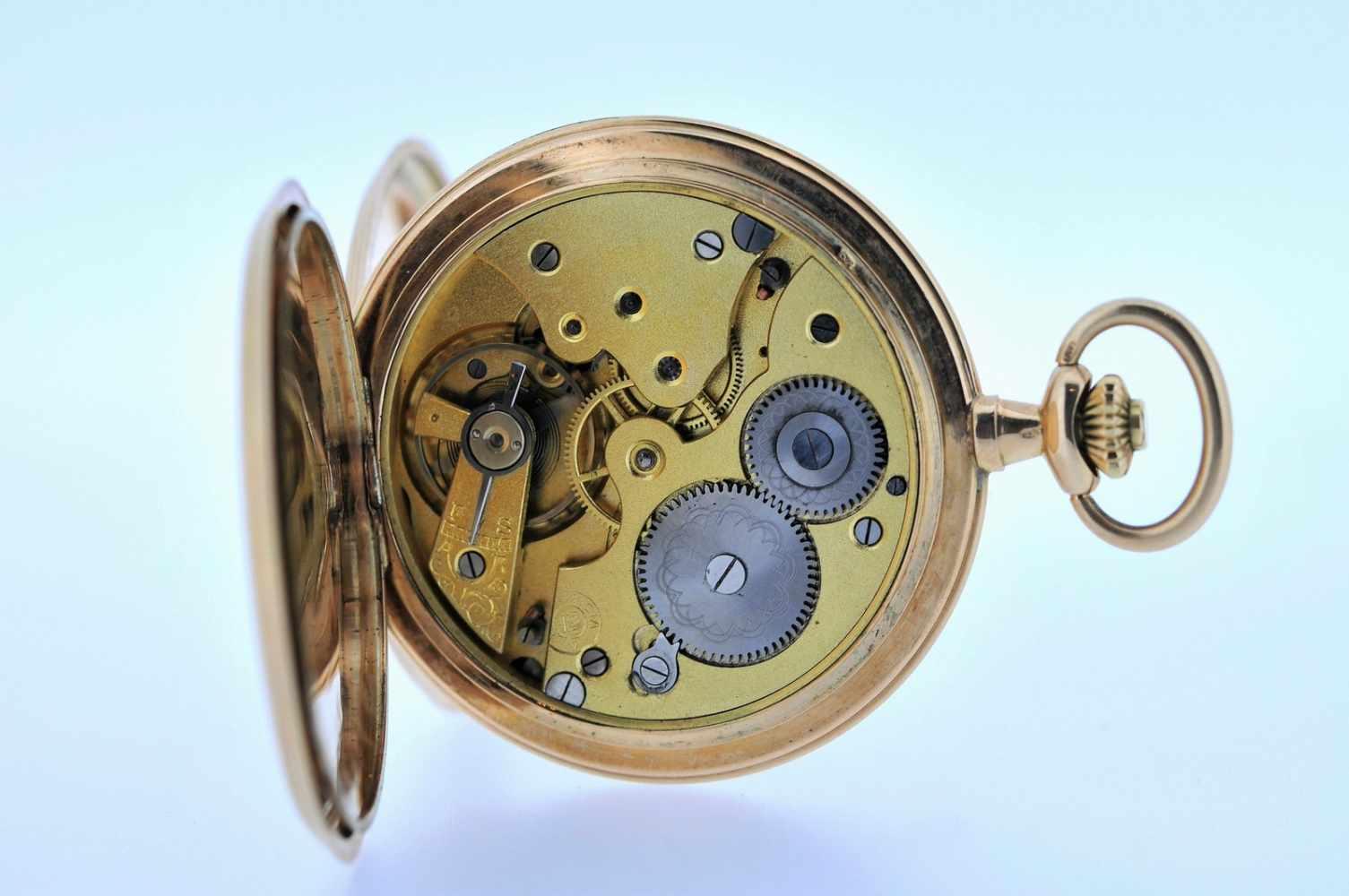 Goldene Herrentaschenuhr Goldene Herrentaschenuhr mit kleiner Sekunde, Elegancia, Breguetspirale, - Bild 4 aus 4