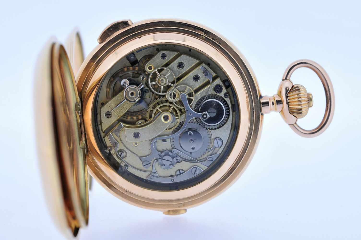 Viertelstundenrepetierer Goldene Taschenuhr mit Viertelstundenschlagwerk, kleiner Sekunde und - Bild 3 aus 4